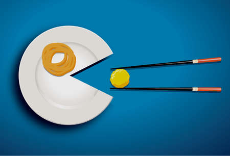 White Plate Eating meatball with chopstick on blue Vector
