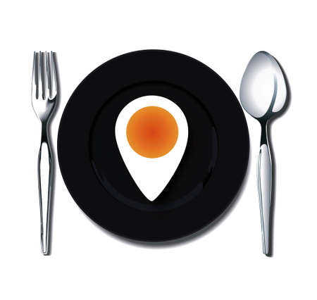boiled egg markers of places on black plate with spoon and fork  Vector