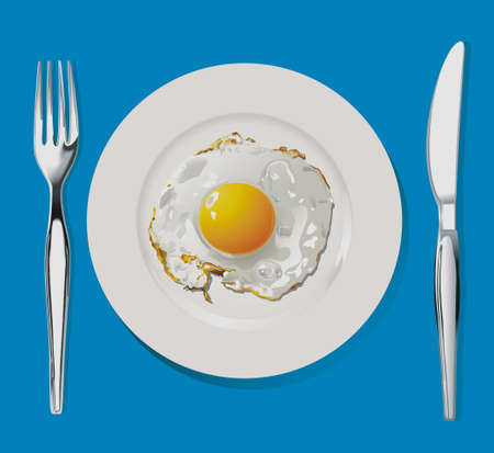 fried egg on white plate with fork and knife.