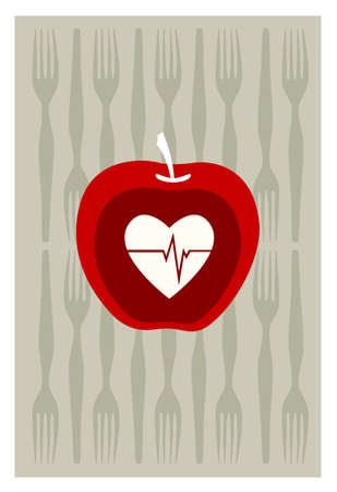 dinning: red apple on gray background