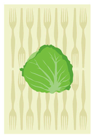 cabbage on yellow background Vector
