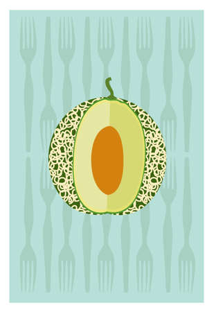 halved: Vector of cantaloupe on green background