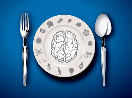 Vector illustrator of Brain food on plate with fork and spoon