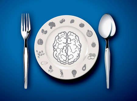 dinner food: Vector ilustrador de Alimento para el cerebro en un plato con tenedor y cuchara