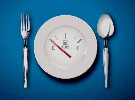 kitchen studio: illustrator of the fork and spoon with white plate on blue background, food is fuel concept Illustration