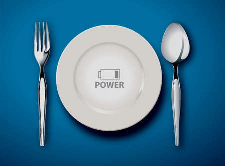 power concept: illustrator of Empty plate isolated on a white background, food is power concept