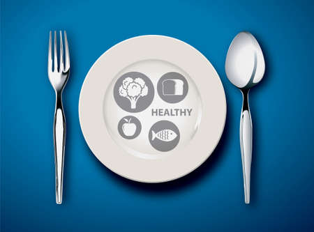 replaces: Vector illustration of new my plate replaces food pyramid on blue black ground