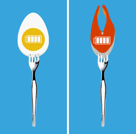 angina: Vector of energy symbol on food with fork. Foods for healthy concept.