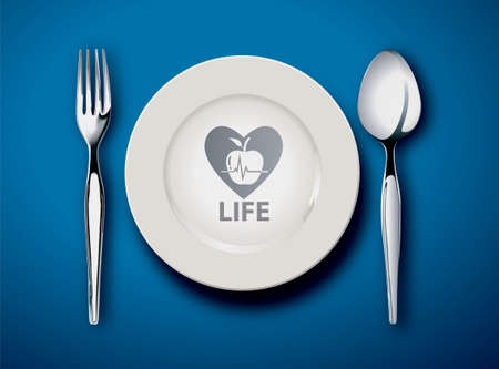 fork in the road: Vector illustrator of Empty plate isolated on a blue background, food is life concept