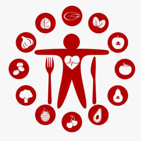 vector van de beste voeding voor je hart, Illustratie symboliseert gezonde voeding