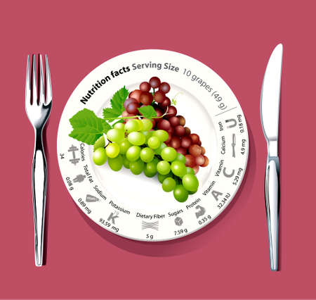 facts: Vector of Nutrition fact saving size green and red grapes on dish Illustration