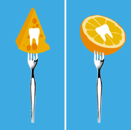 angina: Vector of teeth on food and fruit with fork. Foods for healthy teeth concept. Illustration
