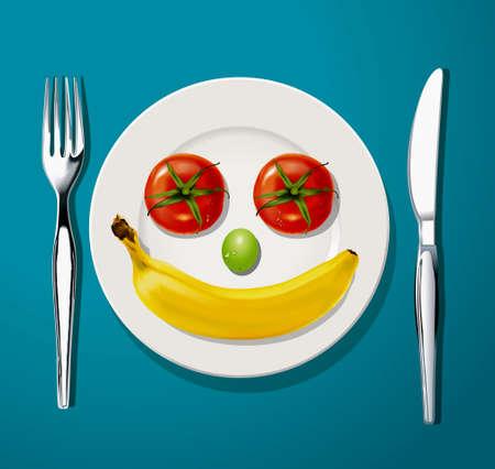 2 つのトマト、緑のブドウの 1 つの結果、ナイフとフォーク、ベクトル、イラストレーターで白いプレート上の 1 つの熟したバナナ。 写真素材 - 31087574