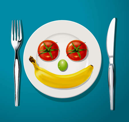 Two tomatoes, one results of green grape and one ripe banana on white plate with knife and fork, Vector, Illustrator.