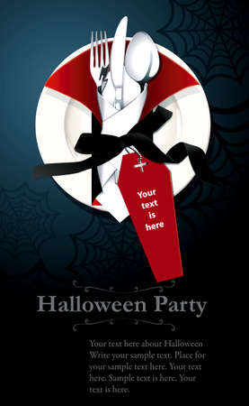 Vector of Poster, Banner Halloween Night party invitation. Spoon, knife, fork in Vampire napkin on white plate. Halloween dinner party concept