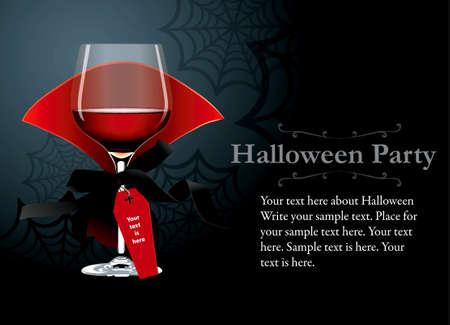 Vetor de Halloween Party cartaz, banner. Vidro de vinho vermelho com roupas de vampiro