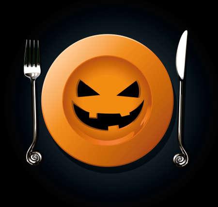 Vector of Halloween pumpkin plate. Orange plate die cut on black background Çizim
