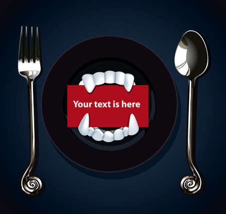 Vector of Halloween Vampire Teeth. Red paper card for your text is here in Vampire teeth on black plate with fork and spoon on black background.