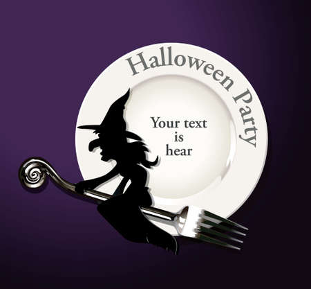 Vector of Halloween Party Plate conceot. Paper witch on fork and plate.