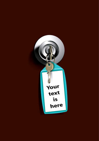 remote lock: Claves en bloqueo colgando del pomo de la puerta, ilustraci�n vectorial.