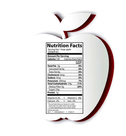 Apple with nutrition facts label. Concept of healthy food