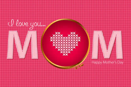 Vector of valentine card. Cross stitch alphabet and heart Vector