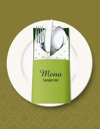 rag: Vector of Kitchen utensils concept. Menu cover Illustration