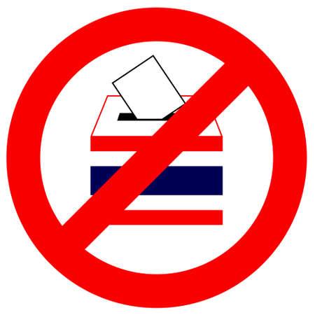 unfairness: Prohibition traffic sign No Vote in Thailand, with Thai flag on ballot box, white background, Unfairness, Vector, Illustration  Illustration