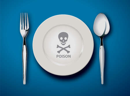 commercial kitchen: Vector illustrator empty plate isolated on a blue background ,poison food concept Illustration