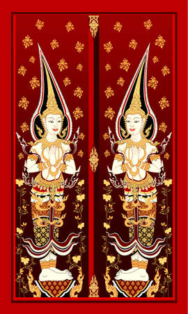 Ancient Thai art painting the door Vector