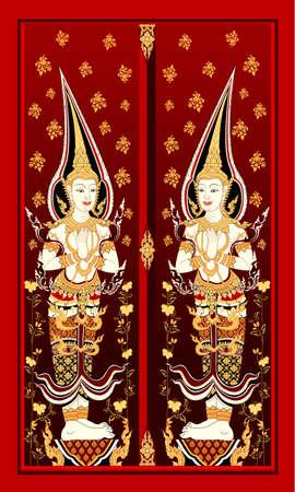 Ancient Thai art painting the door Illustration