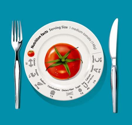 빨간 토마토 영양 사실에 격리 포크와 나이프 흰 접시 실버 사실적인 벡터 일러스트 레이 션.