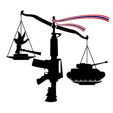 bestechung: Skala von Ungerechtigkeit (Staatsstreich von Justiz), Vektor, Illustrator