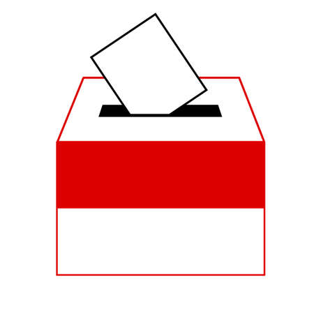 designation: vote label (vote symbol, vote icon, ballot box, slot of box), Vector, Illustration Illustration