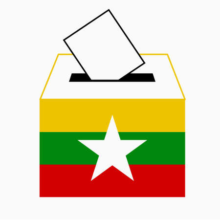 ballot box: Myanmar Vote, vote label Illustration