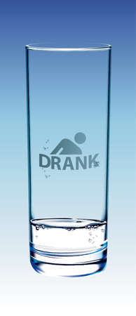 drank: Glass of water isolated on gradient blue and show Drank symbol on the glass