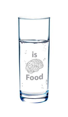 essen und trinken: Vektor Wasser ist Gehirn Essen, Trinken und Essen Gehirn gesund Konzept. Illustration