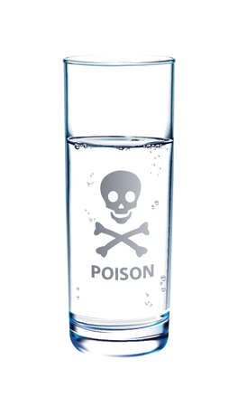 glass reflection: Glass of Water on white background with reflection and poison icon on glossy