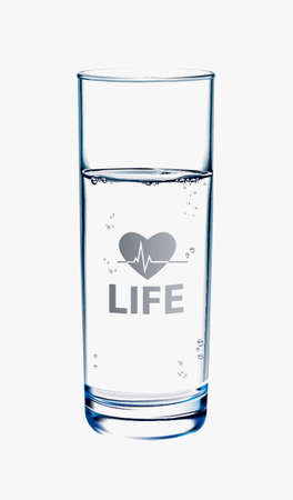 glass half full: Glass of Water on white background with reflection. Life symbol on glass