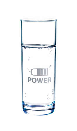 glass reflection: Glass of Water on white background with reflection. Power symbol on glass