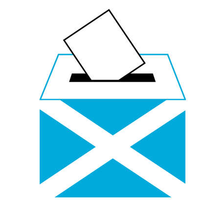 scotland flag: vote label (vote symbol, vote icon, ballot box, hand put a voting ballot in a slot of box), Vector, Illustration Illustration