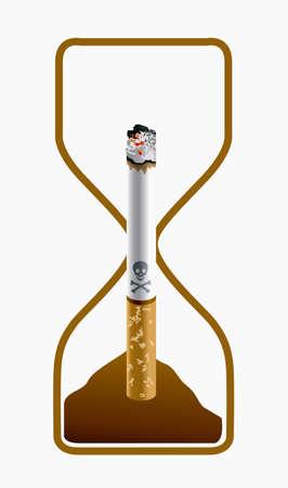 inhalacion: ilustraci�n del peligro de fumar. El tiempo se acaba concepto