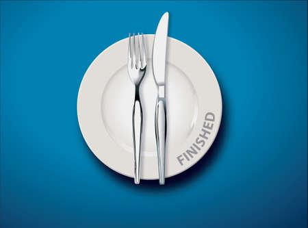 Witte lege plaat met vork en mes op lichtblauw tafelkleed Vector Illustratie