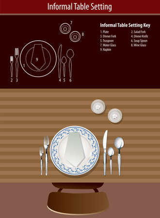 formal place setting: How to set informal table Illustration