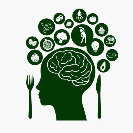 medicine icons: Best Food for Healthy Brain, Illustration symbolizes healthy food