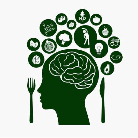 zdrowa żywnośc: Najlepsze jedzenie dla zdrowego mózgu, Ilustracja symbolem zdrowej żywności Ilustracja