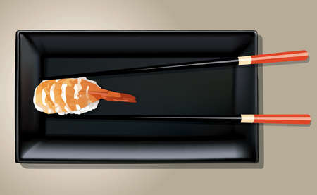 Vector of Sushi on black plate with chopsticks Vector