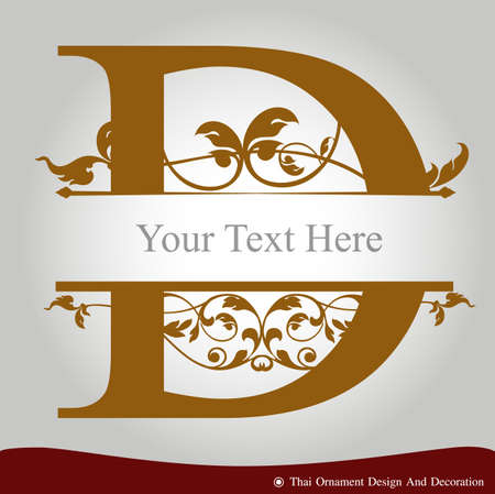 Vector of Letter D in the old vintage style. ABC concept type as icon. Typography design