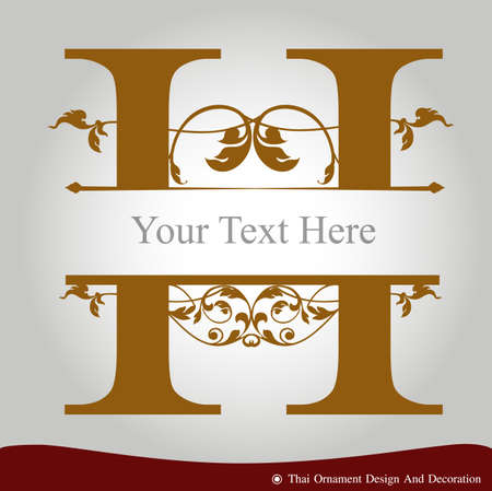 Vector of Letter H in the old vintage style. ABC concept type as logo. Typography design