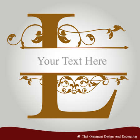 Vector of Letter L in the old vintage style. ABC concept type as icon. Typography design